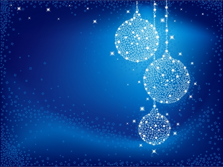 Shiny white Christmas balls on blue background Vector