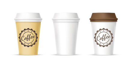 White, yellow, brown cups of coffee icons Illustration