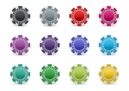 Colorful casino chips icon set on a white background   Vector