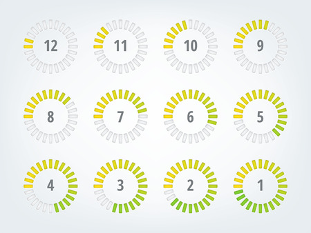 Timer infographics  12 icons to illustrate time progress