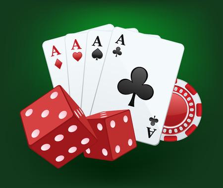 Vector Casino splash Ilustración de dados rojos, tarjetas y chips Ilustración de vector