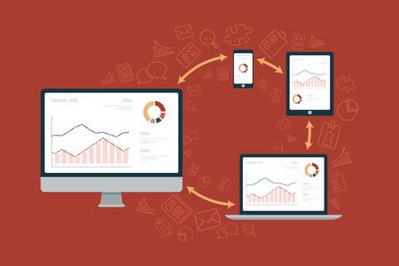 data synchronization: Flat vector illustration of data synchronization between computer, tablet and phone Illustration
