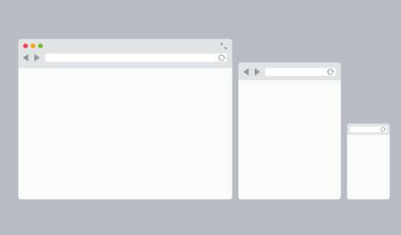 데스크탑, 태블릿 및 모바일 웹 브라우저 템플릿 세트 일러스트