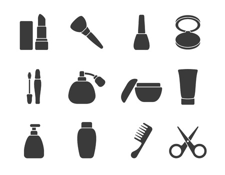 cosmetic cream: Flat vector make-up   hair accessory icons