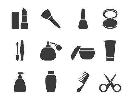 accessoire: Vecteur plat de maquillage accessoires de cheveux ic�nes Illustration