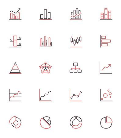 Outline simple bi-color vector icons of diagrams, graphics and charts  Illustration