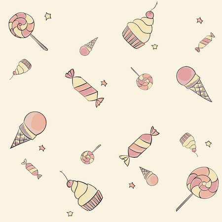 Seamless hand drawing children pattern with candies, ice-cream, cupcakes and stars Vector