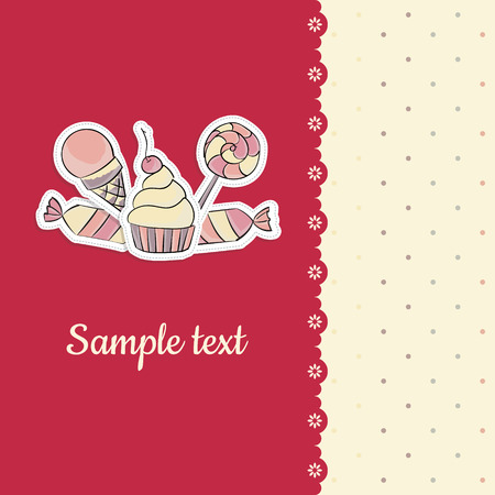 wrapped present: Vector children greeting card with hand drawing illustration of lollipop, cupcake, ice cream, candies  Lace and seamless dotted background