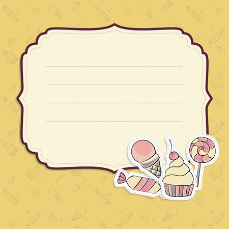 Vector children greeting card template with hand drawing illustration of lollipop, cupcake, ice cream, candies  Seamless background Vector