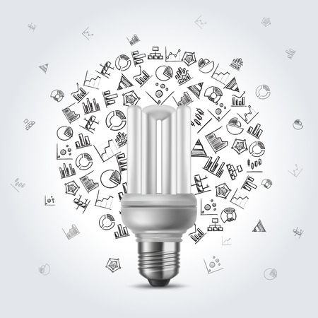 Energy Saving Electric Bulb On Grey A Background With Hand Drawn