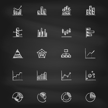 Hand drawn diagram icons on blackboard  Vector