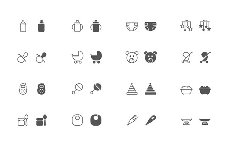 snapped: Outline and filled simple vector icons of baby goods. snapped to pixel shapes, fully scalable