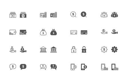 ios: D�crire et rempli ic�nes vectorielles simples d'argent li�es choses. iOS 7 de style, accroch�s aux formes de pixels, enti�rement modulable Illustration