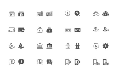 Outline and filled simple vector icons of money related stuff. iOS 7 style, snapped to pixel shapes, fully scalable Illustration