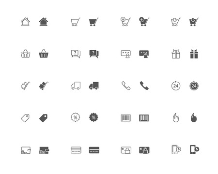 snapped: Outline and filled simple vector icons of online shopping related stuff. snapped to pixel shapes, fully scalable Illustration