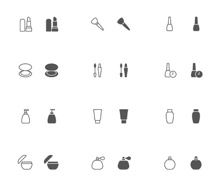 eyelids: Outline and filled simple vector icons of Make-up related stuff. Snapped to pixel shapes, fully scalable