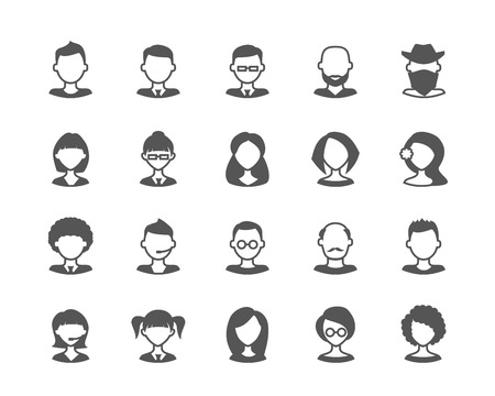 scalable: User flat faces set of vector icons. Fully scalable. Illustration