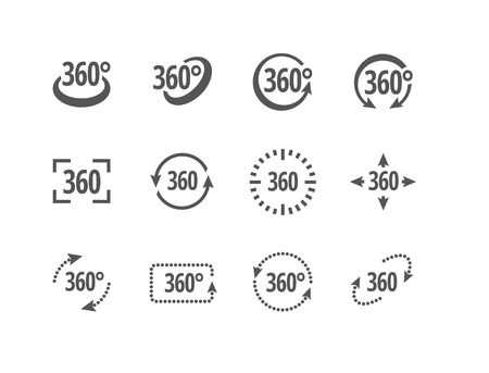 virtual reality simulator: 360 degrees view sign vector icons of different shapes. Fully scalable.
