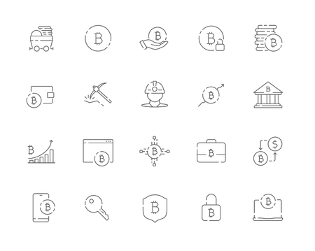 Simple set of Bitcoin related vector line web icons. Contains such Icons as Bitcoin, Miner, Distribution, Security, Portfolio and more. Editable Stroke. 48x48 Pixel Perfect. Illustration