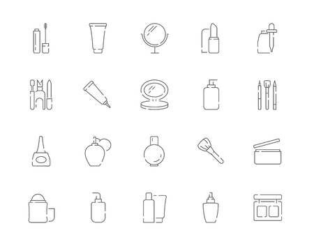 Simple set of Cosmetic products and Makeup vector line web icons.