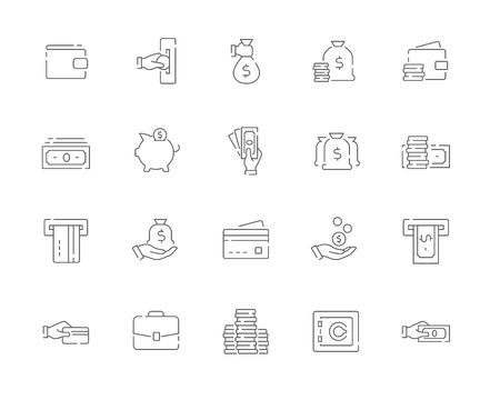 Simple set of Money vector line web icons. Contains such Icons as Cash, Wallet, ATM, Hand with a Coin and more. Editable Stroke. 48x48 Pixel Perfect. Illustration
