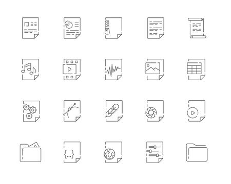 Simple set of Document related vector line web icons. Contains such Icons as Document, Attachment, Search for a document, Hand with a document and more. Editable Stroke. 48x48 Pixel Perfect.