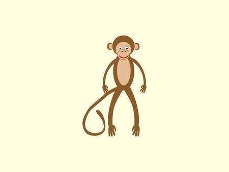 prankster: Brown monkey with a long tail in the style of children. Funny animal stands upright smiling prankster Joker the symbol of the year 2016 Eastern calendar Illustration