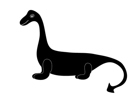 brontosaurus: Black silhouette of a dinosaur dragon tale white background.Paleontology of the Jurassic period Brontosaurus monster cute baby