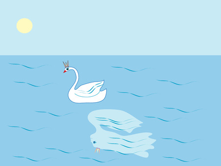 water bird: Swan Princess a tale of the lake girl. The reflection of the water bird landscape Illustration