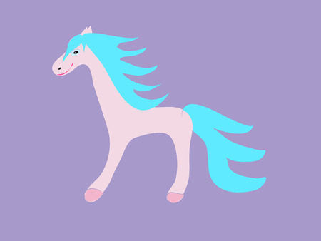 fable: the pink horse funny childrens fairytale. Blue mane cartoon