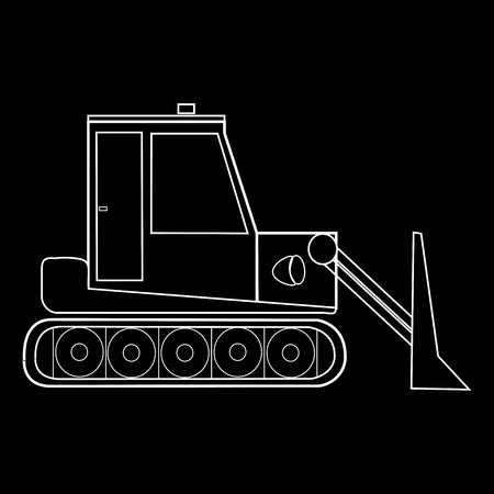 dozer: Dozer tractor construction equipment and road machinery. Black and white silhouette special car