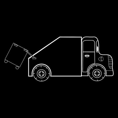 recolector de basura: El recolector de basura es un coche especial. Máquina de reciclaje silueta en blanco y negro Vectores