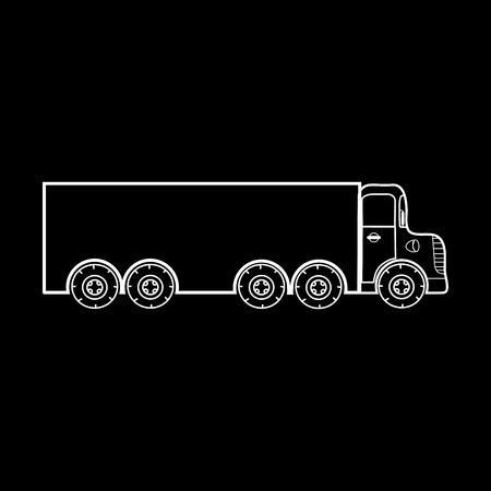 trucker: Big truck transport of large loads. Black and white silhouette of the car Illustration