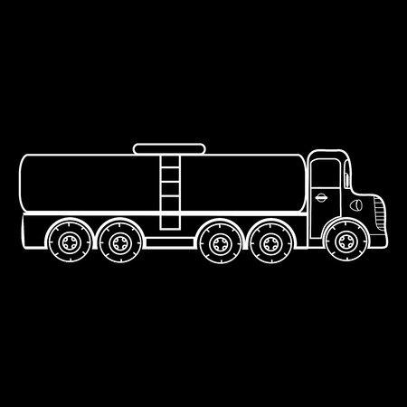 trucker: The truck big car transportation of gas liquids milk water fish transportation. Black and white silhouette of the car