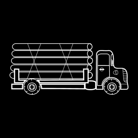 trucker: A truck transporting timber logs timber. Great car black and white silhouette