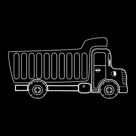dump body: Truck with body for bulk cargo. Black and white silhouette of a large machine Illustration