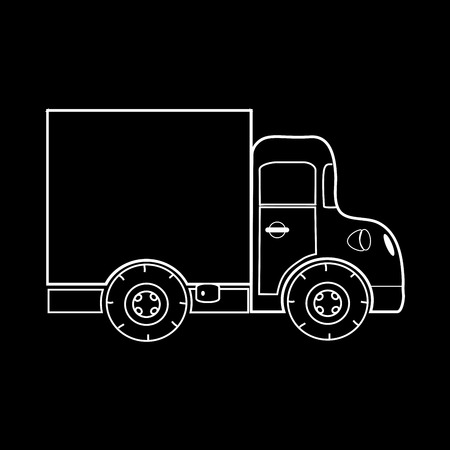 Mini truck for transporting small loads. Black and white silhouette of the car Illustration