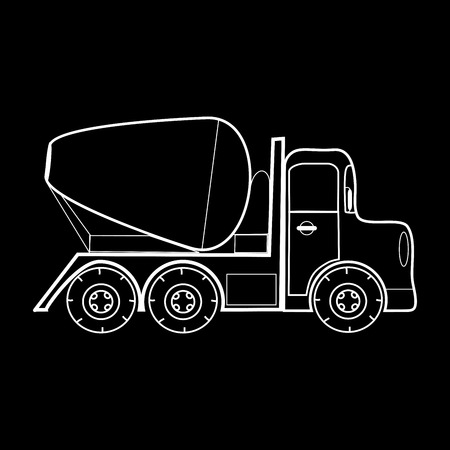 concrete mixer: Concrete mixer vehicle for the construction of roads and buildings. Black and white silhouette of the car Illustration