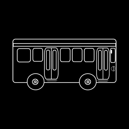 Passagier-Busfahrt zum Stadt öffentlichen Verkehrsmitteln. Schwarz und weiß Silhouette des Autos Standard-Bild - 42167408