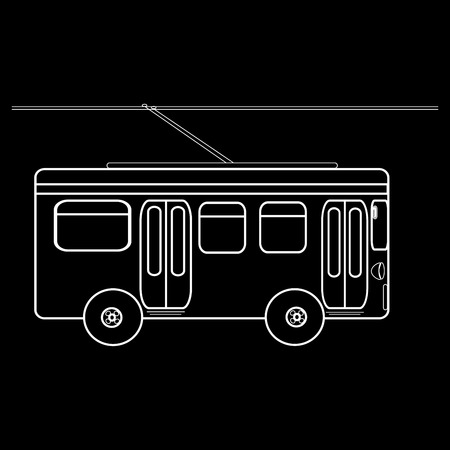 municipal: Trolleybus city municipal public transport. Black and white silhouette of the car
