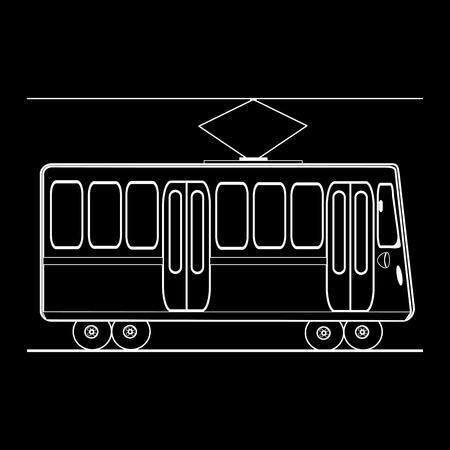 municipal: Tram city public municipal passenger transport. Black and white silhouette of the car