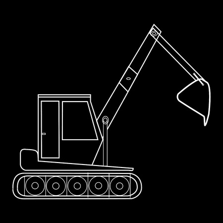 road works: Excavator with bucket construction of road works. Black and white silhouette special car