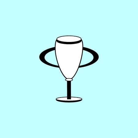 elongated: Champion Cup black and white silhouette sign icon. The elongated bowl of the Cup on a thin stalk Illustration