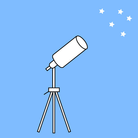astrologer: telescope astronomical instrument and stars. Tripod and apparatus for space surveillance Illustration