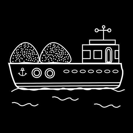 はしけ: 貨物船バルク貨物船。交通機関は、水に浮く  イラスト・ベクター素材