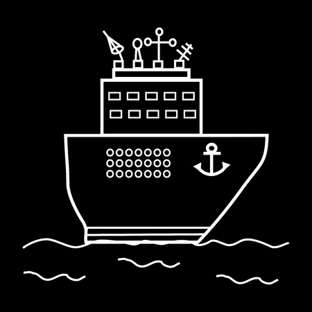 oceanography: Cruise ship or research vessel. Great transport radiolocation science Illustration