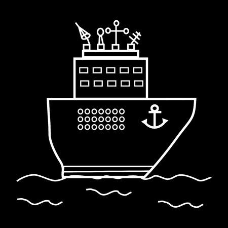oceanography: Nave da crociera o di una nave di ricerca. Grande scienza trasporti radiolocalizzazione Vettoriali