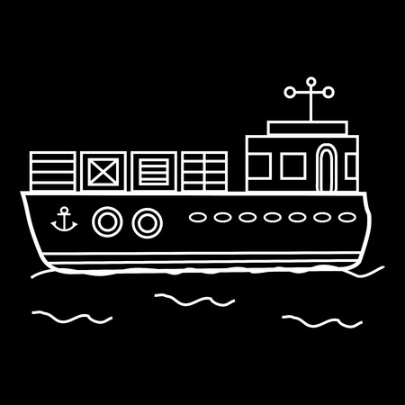 barge: Cargo barge ship with containers. Water transport Illustration