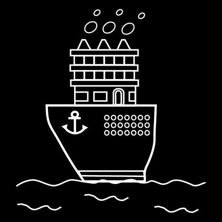 floats: Liner great icebreaker ship. Maritime transport floats on water Illustration