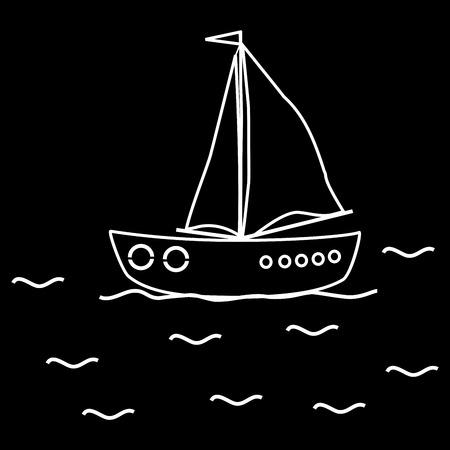 yachtsman: Yacht sailboat ship. Black and white image journey cruise yachtsman